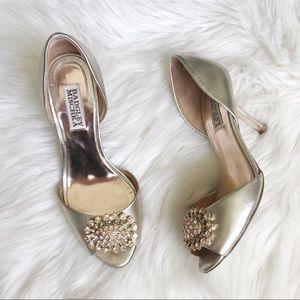 BADGLEY MISCHKA Lacie Gold Leather Rhinestone Heel